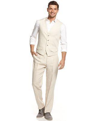 Tasso Elba Linen Vest & Pants - Pants - Men - Macy's | Casual ...