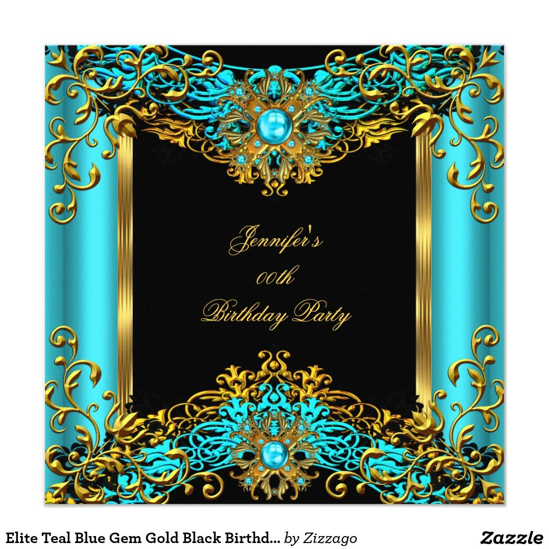 Elite Teal Blue Gem Gold Black Birthday Party 2 Invitation | Zazzle.com in  2020 | Masquerade party centerpieces, Pearl birthday party, Blue gems