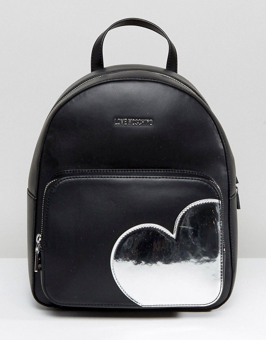 a1ab756a52 LOVE MOSCHINO BACKPACK WITH HEART - BLACK. #lovemoschino #bags #lining  #silk #backpacks #suede #