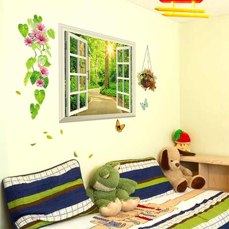 HOT Rural fake window wall stickers children\'s room office living ...