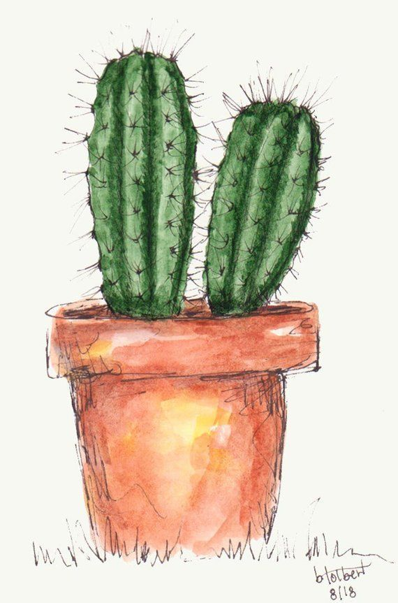 Photo of This item is unavailable – Barrel Cactus Plants Original Watercolor Art Painting…