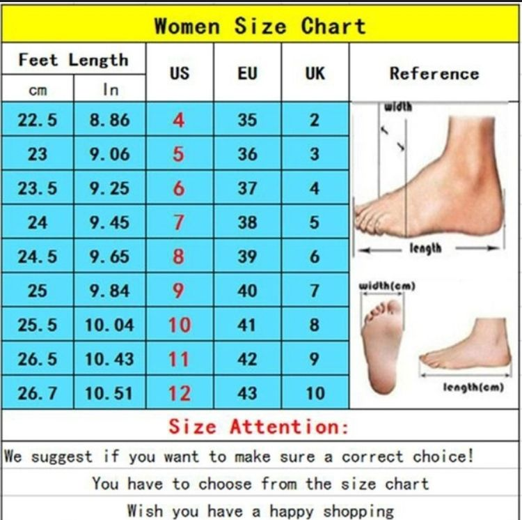 جدول مقاس الحذاء للنساء shoes size chart women's Shoe