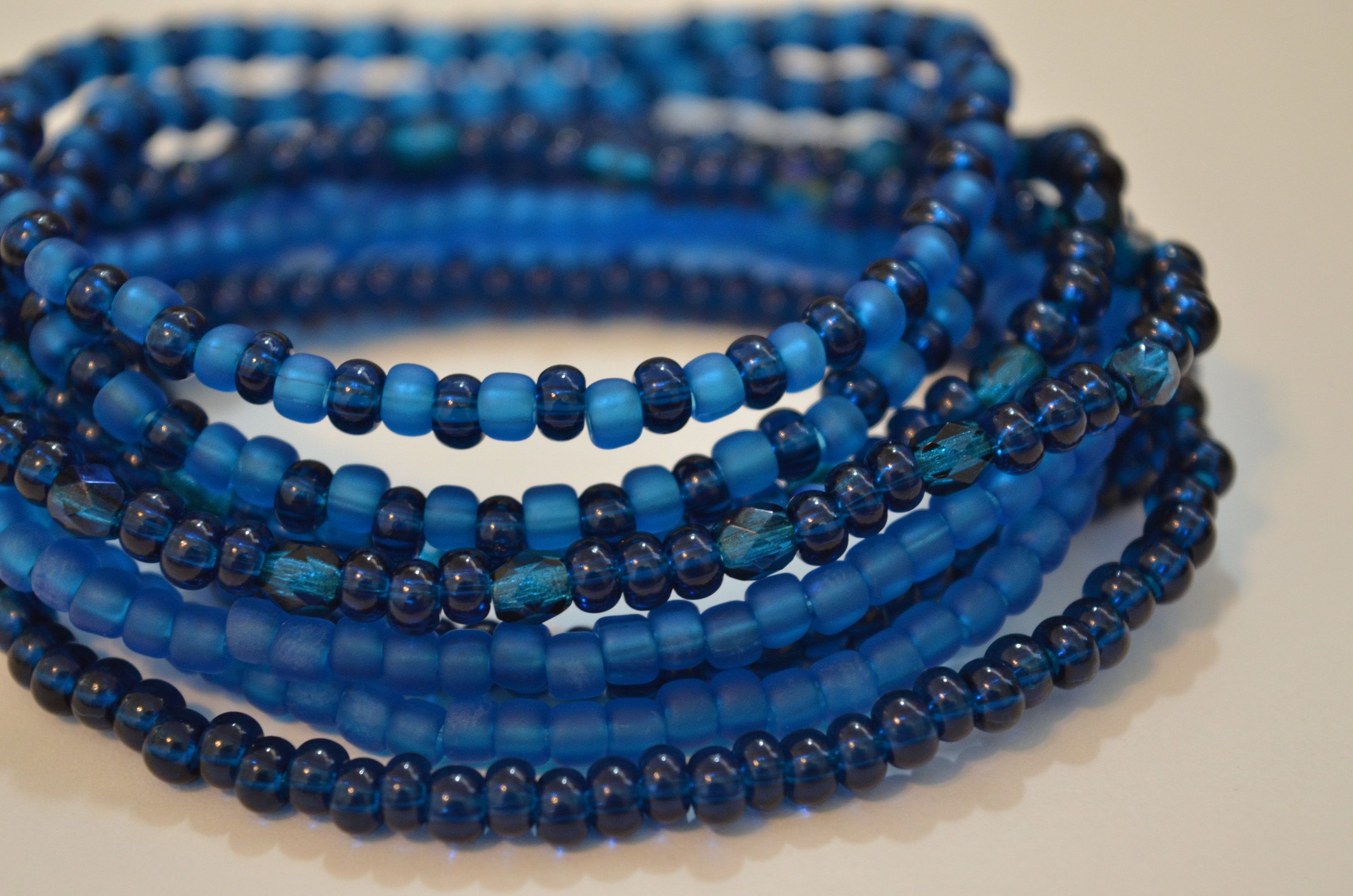 Blue bead ring and bracelet set available on there own