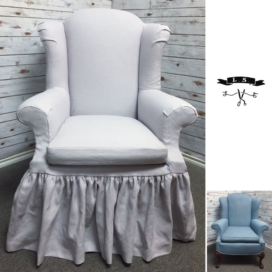 Lavender Linen Wingback Chair Slipcover With Gathered Skirt And