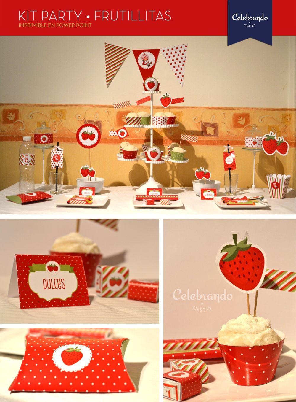 7c3fe33f1 Kit imprimible Frutillitas - Printable Strawberry - Celebrando Fiestas