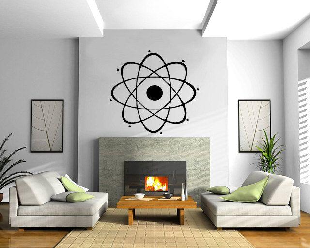 Atom Nuclear Chemistry Physics Science Decor Wall mural vinyl sticker M024. $29.99, via Etsy.
