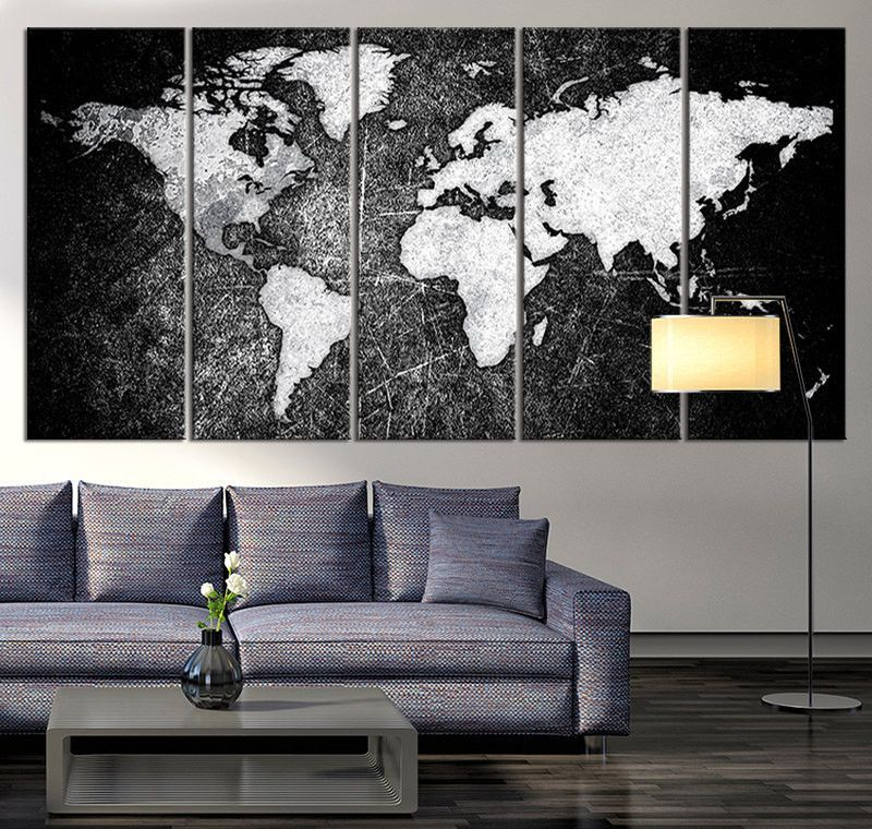 Black and white world map canvas print ready to hang large wall art black and white world map canvas print ready to hang large wall art world map gumiabroncs Images