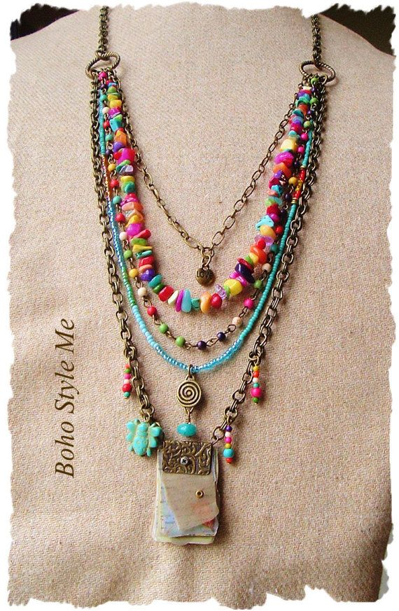 ad11e423caca Bohemian Jewelry Colorful Layered Beaded Necklace by BohoStyleMe ...
