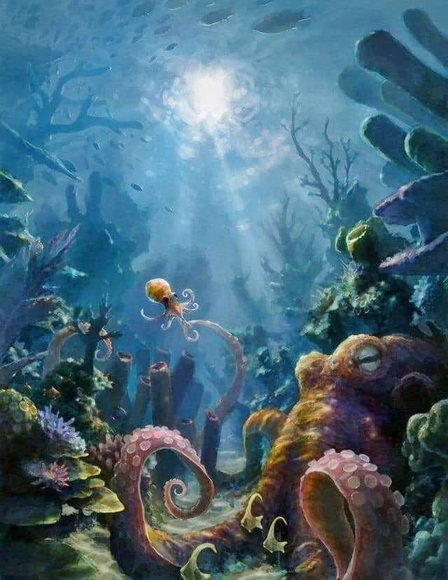 Underwater coral reef sea life art painting - #coral # ...
