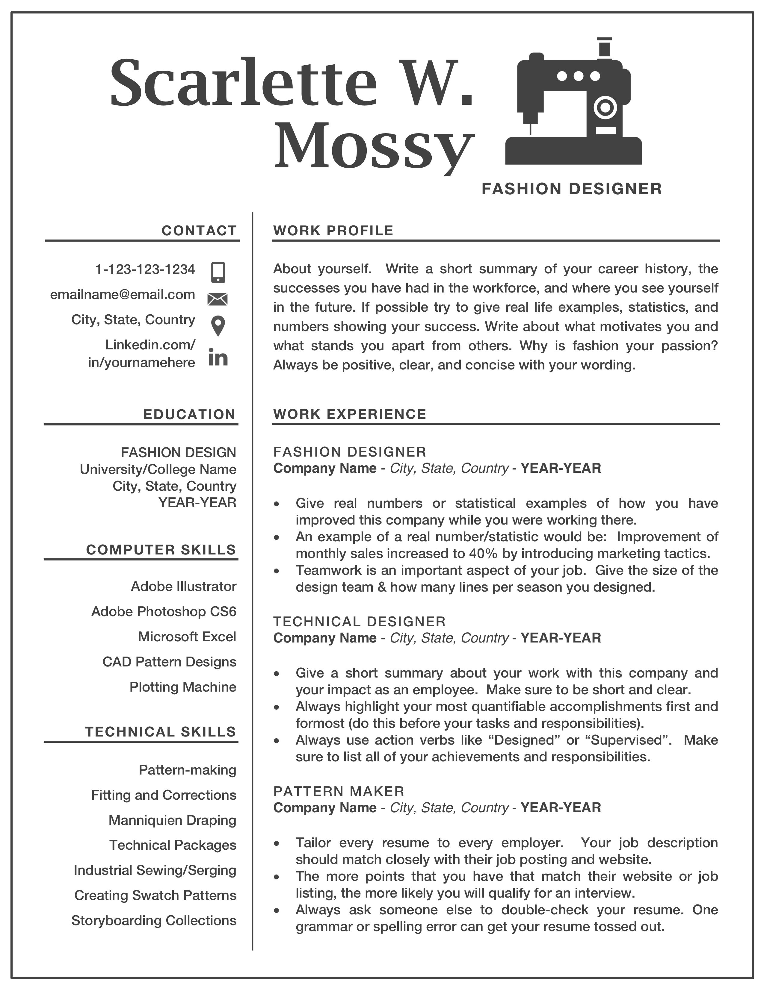 Resume Template Made For Fashion Design Seamstress Etc But Can Be Customized