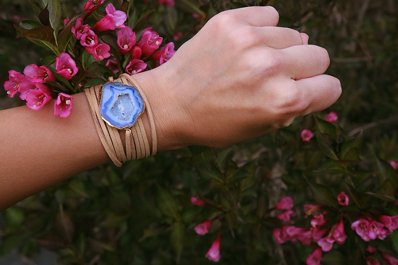 wrap bracelet with blue stone