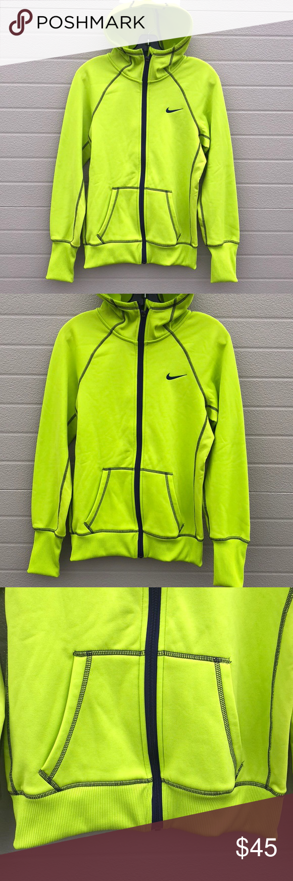 Nike lime green neon full zip hoodie jacket small Nike lime