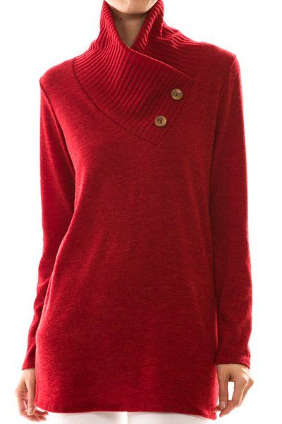 I Love this crimson red sweater with double buttons, because it's ...