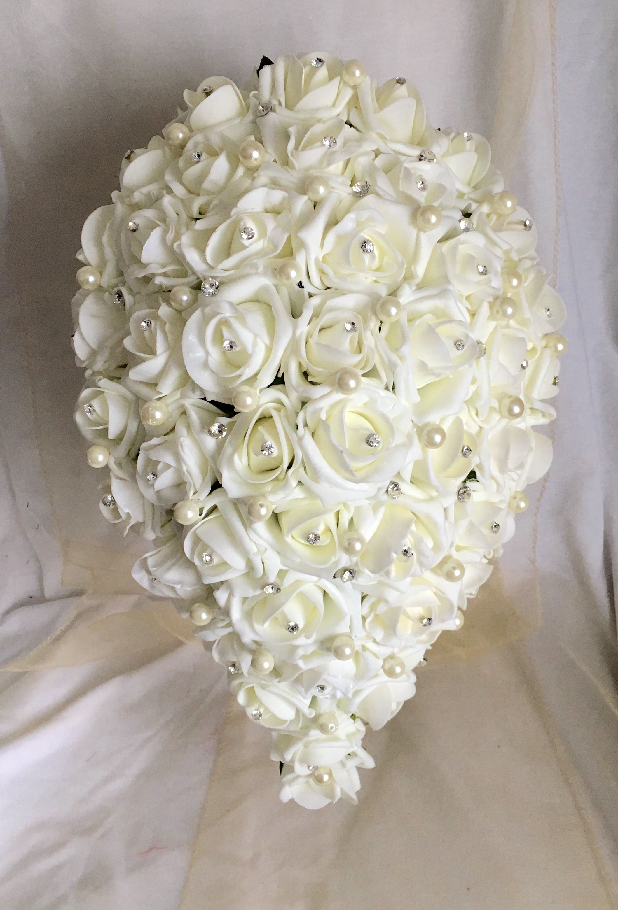 Brides bridal pearl and rose wedding bouquets White or Ivory teardrop