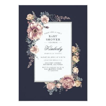 Blue and mauve elegant vintage floral baby shower card blue and mauve elegant vintage floral baby shower card elegant gifts gift ideas custom presents solutioingenieria Image collections