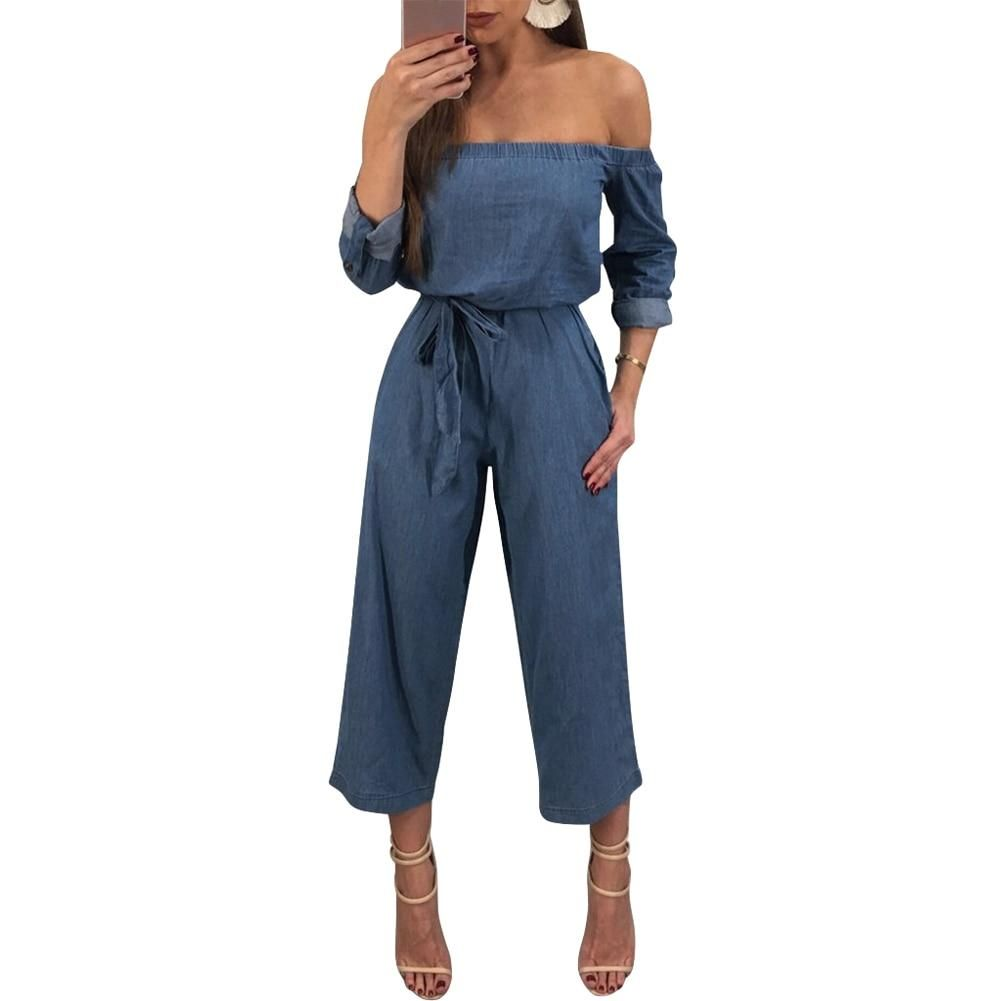 4e59a55fb8b Women Off Shoulder Denim Jumpsuit Rompers Belted Wide Leg Pants Long Trousers  2018 New Casual Jeans Overalls Bodysuit Playsuit