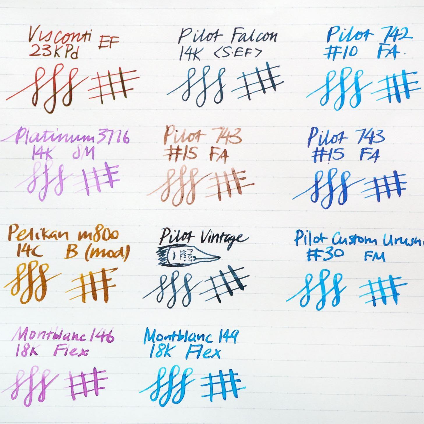 Flex Nib Comparison Chart In