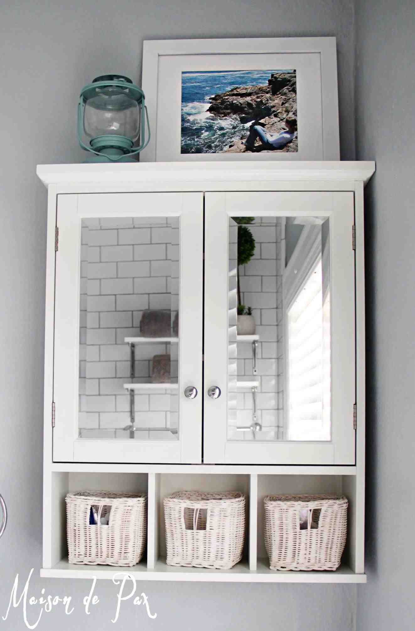 New Post white bathroom wall cabinet with towel bar | Decors Ideas ...