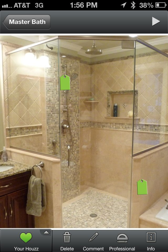 Layout and tile design of our shower. 5 X 5 ft with 36\