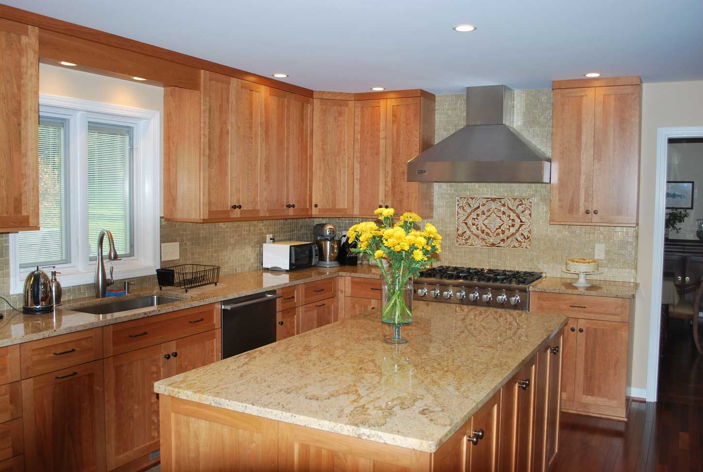 Image result for white countertop natural cherry cabinet ...