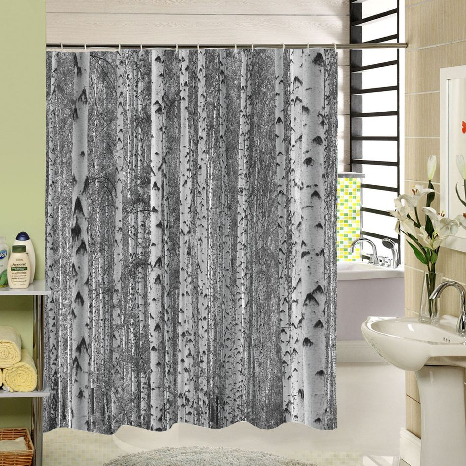 Birch Tree Shower Curtain Forest Trees For Bathroom Decor Private
