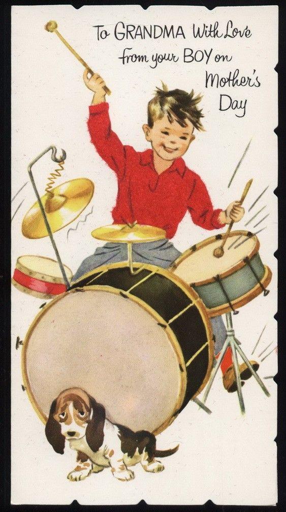 Vintage Drum Set Hound Dog gReeTinG CARD oLd stOcK Unused – Birthday Card Sets