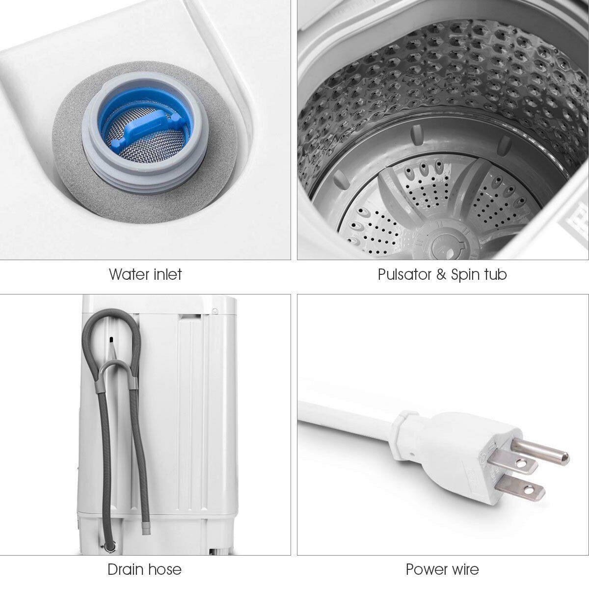 Portable Compact Washing Machine 1 34 Cu Ft Spin Washer Drain Pump 8 Water Level Walmart Com In 2020 Compact Washing Machine Automatic Washing Machine Washing Machine