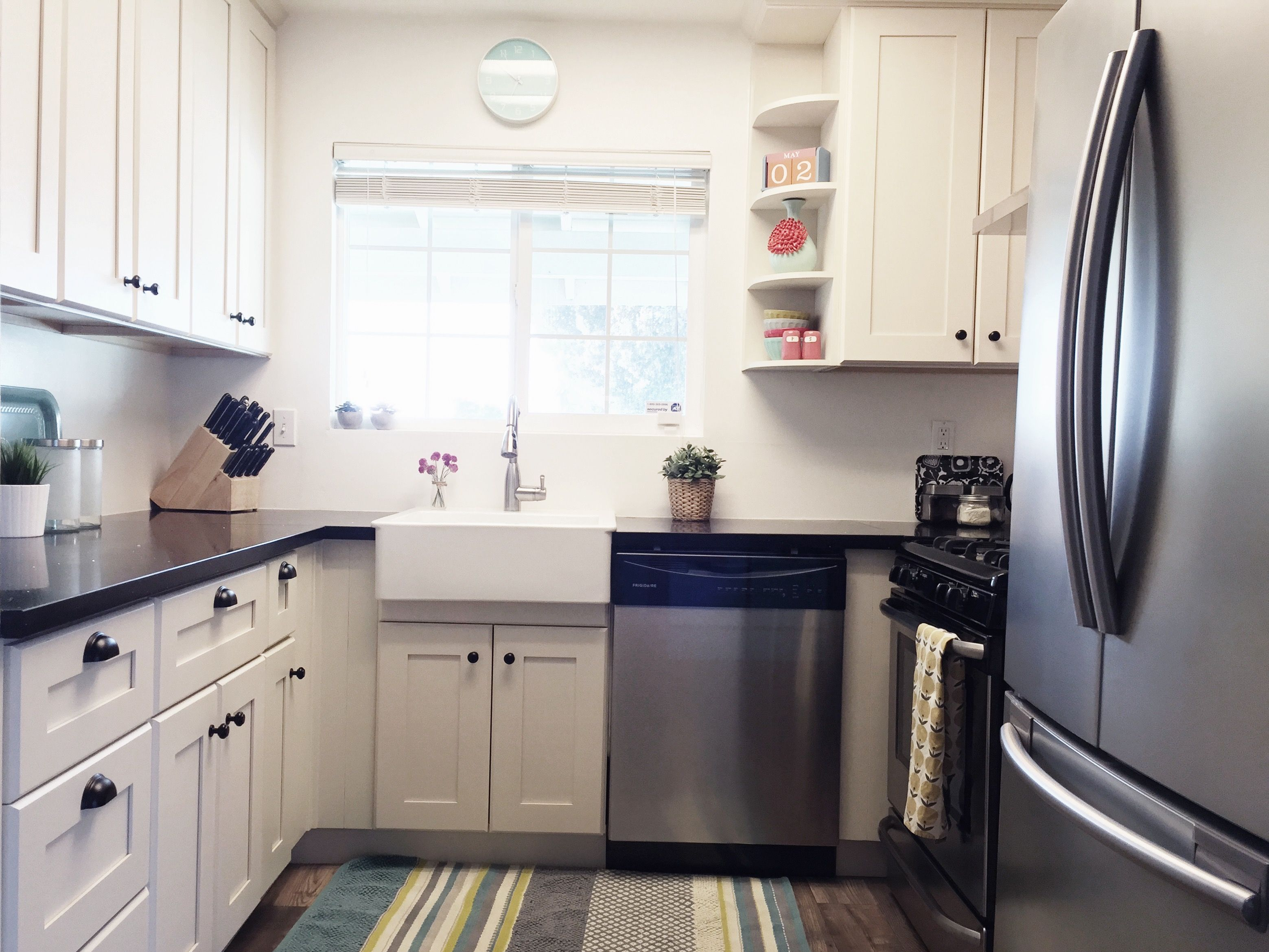 Small kitchen renovated white cabinets white farmhouse from Ikea