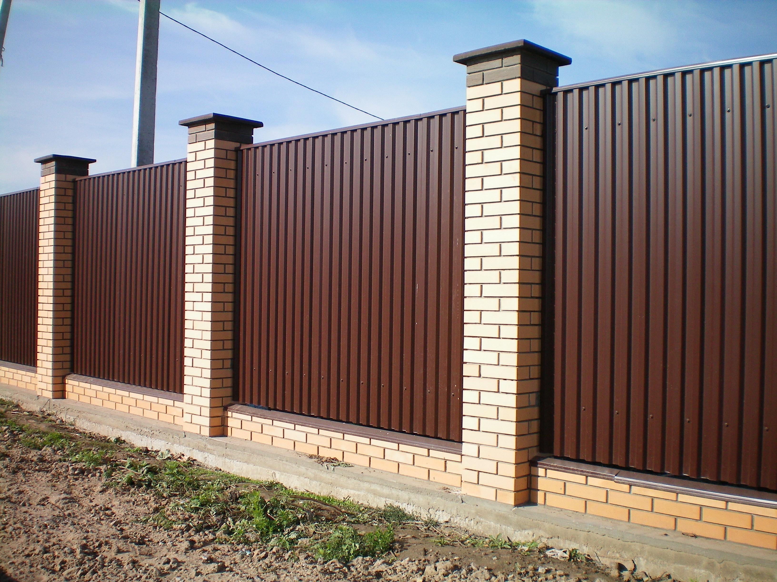 Забор из профнастила коричневый | Забор для, Забор ...