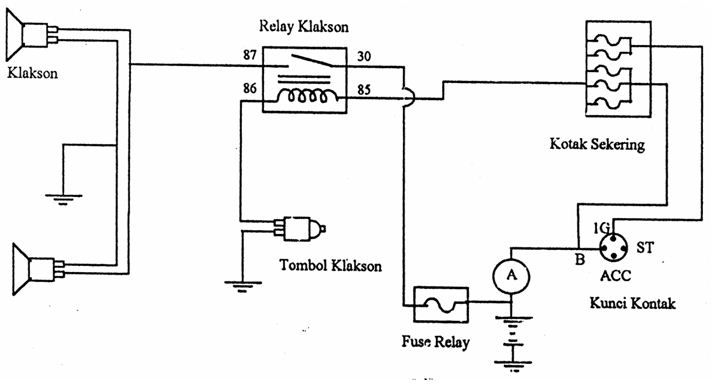 rangkaian relay pada klakson motor
