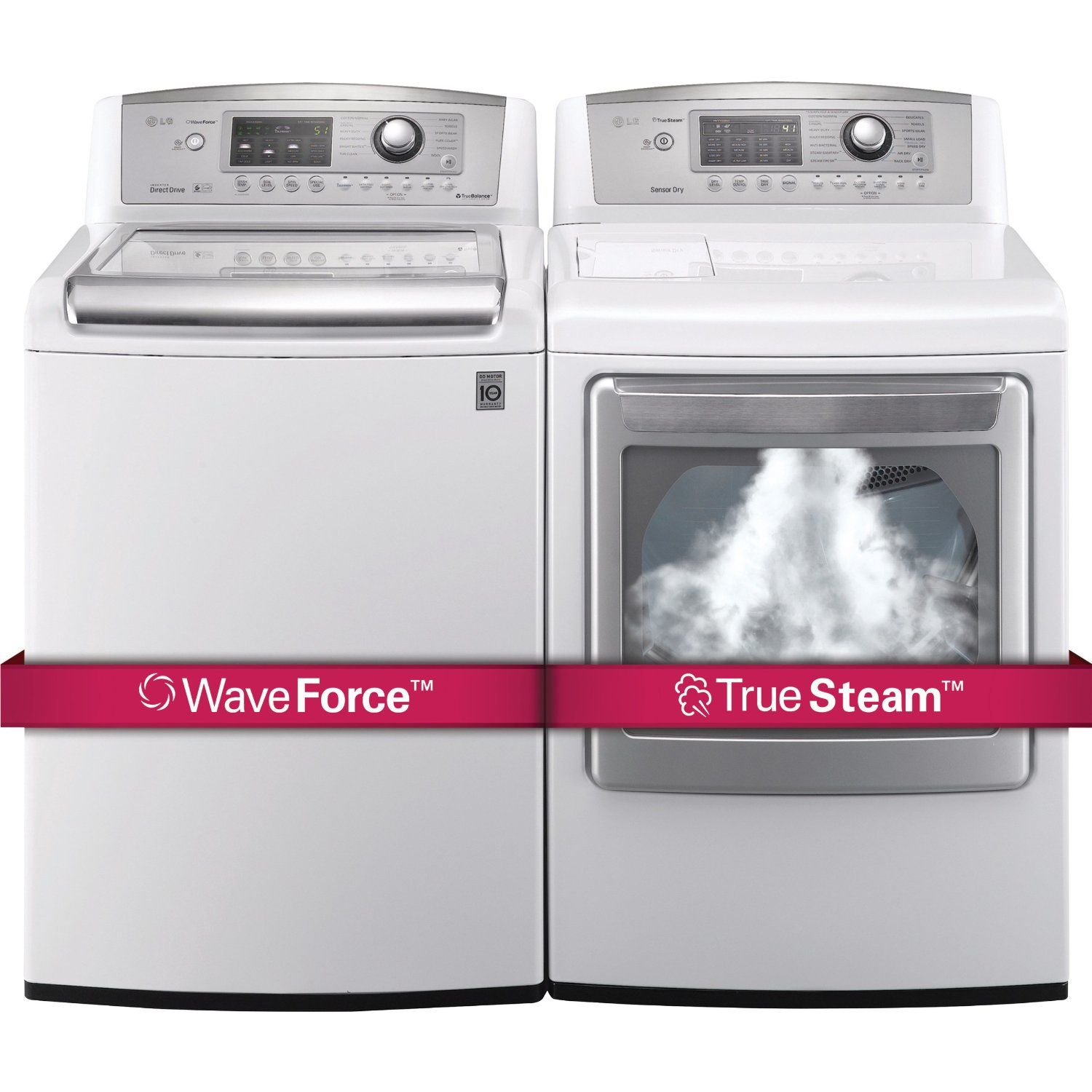 Lg Washing Machines H E Ultra Large Capacity Top Load Laundry Pair With Waveforce Technology Wt5070cw Dlex5170w Electric Dryer