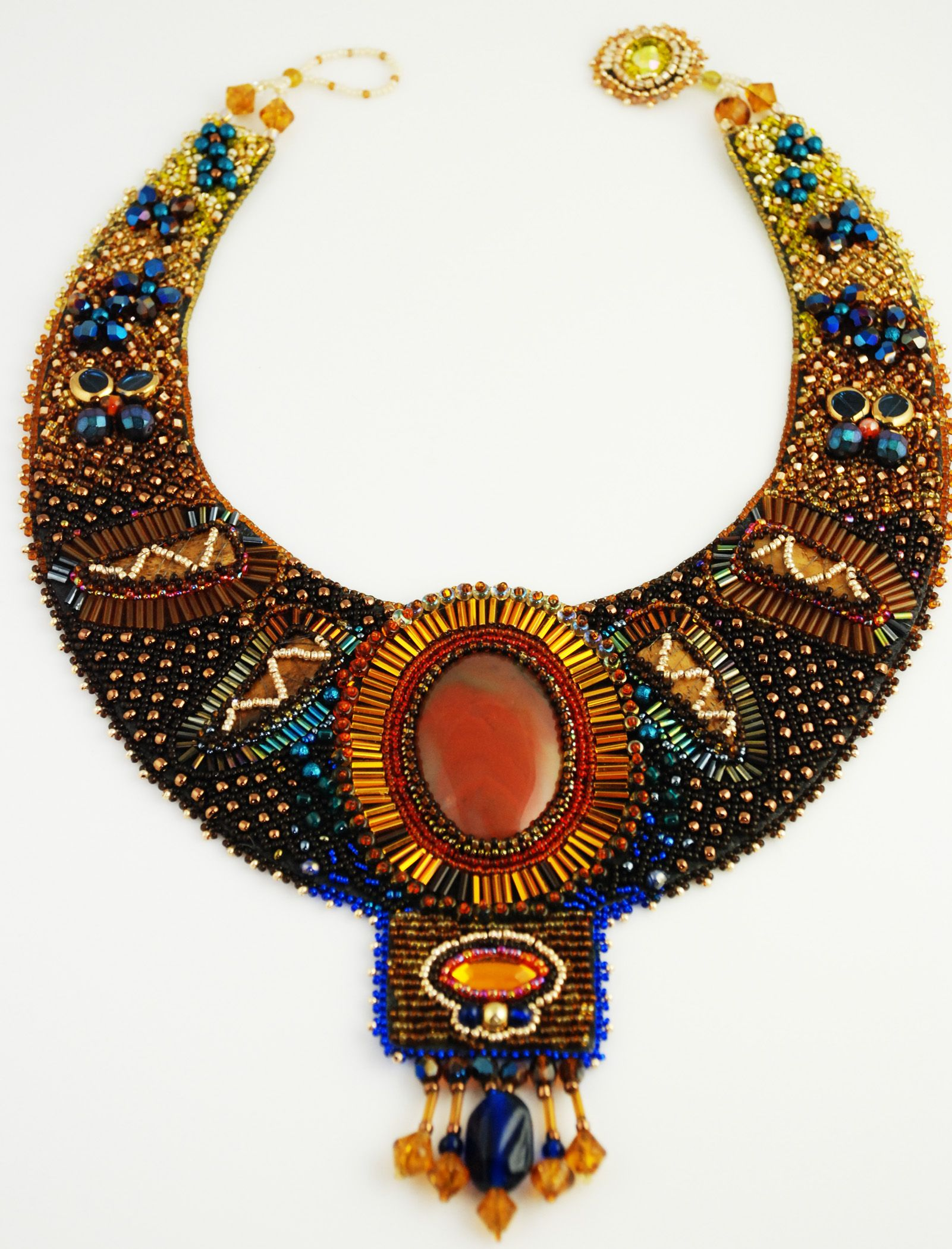 Electric sunrise bead embroidery necklace doro soucy