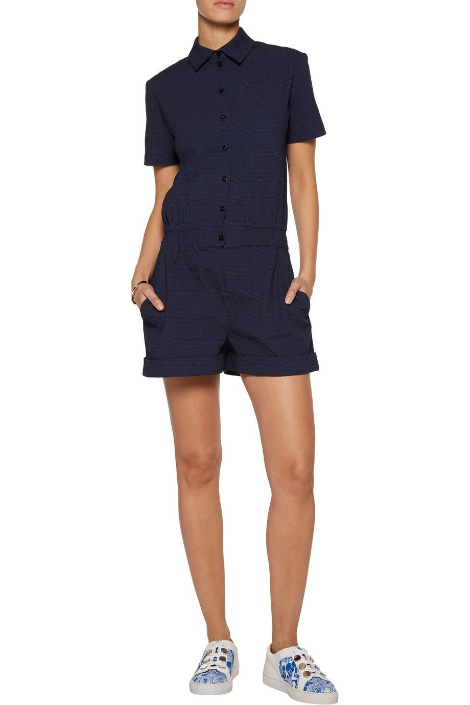 Carven Woman Cotton-blend Seersucker Playsuit Midnight Blue Size 42 Carven Real Cheap Online w3zlbulmX9