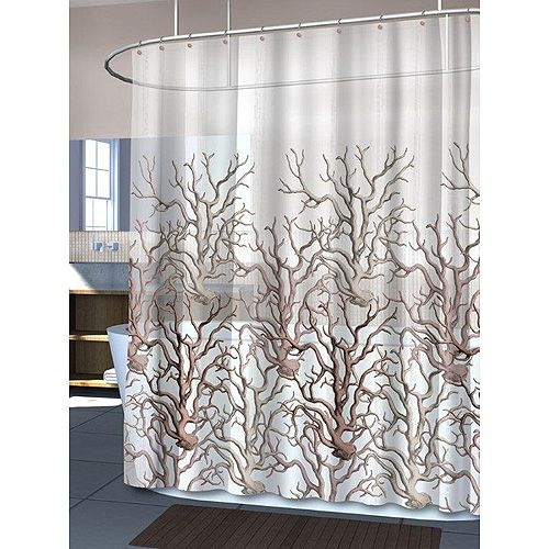 ... Coral PEVA Shower Curtain