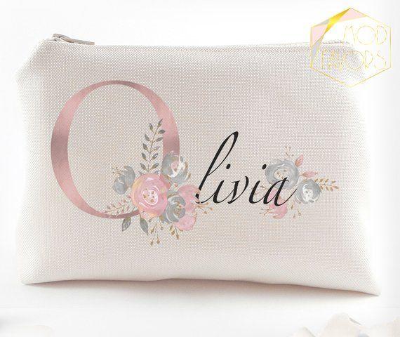 Bridesmaid gift set Bridesmaid gift idea Bridal gift Set of 6 Makeup bags Bridesmaid makeup bag Bridesmaids gift Mint