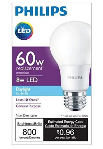 Amazon Or Buy At Lowe S Philips 455600 60w Equivalent A19 Led Daylight Light Bulb Https Www Amazon Com Dp B0143925wy Ref Led Light Bulb Light Bulb Bulb