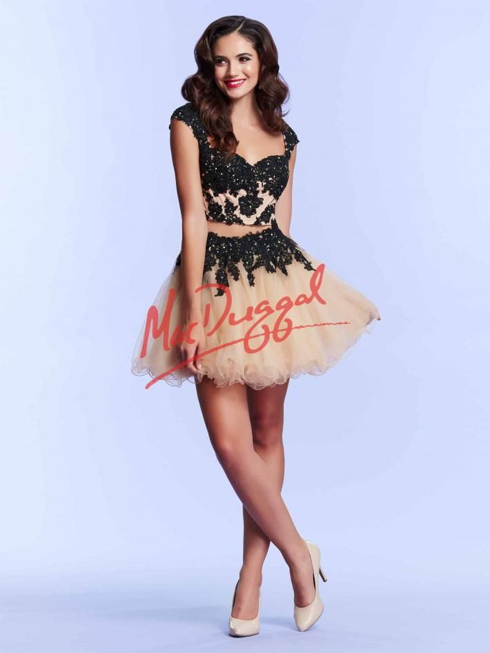 Two Piece Prom Dress | Black Lace | Short Skirt | Mac Duggal 10016M ...