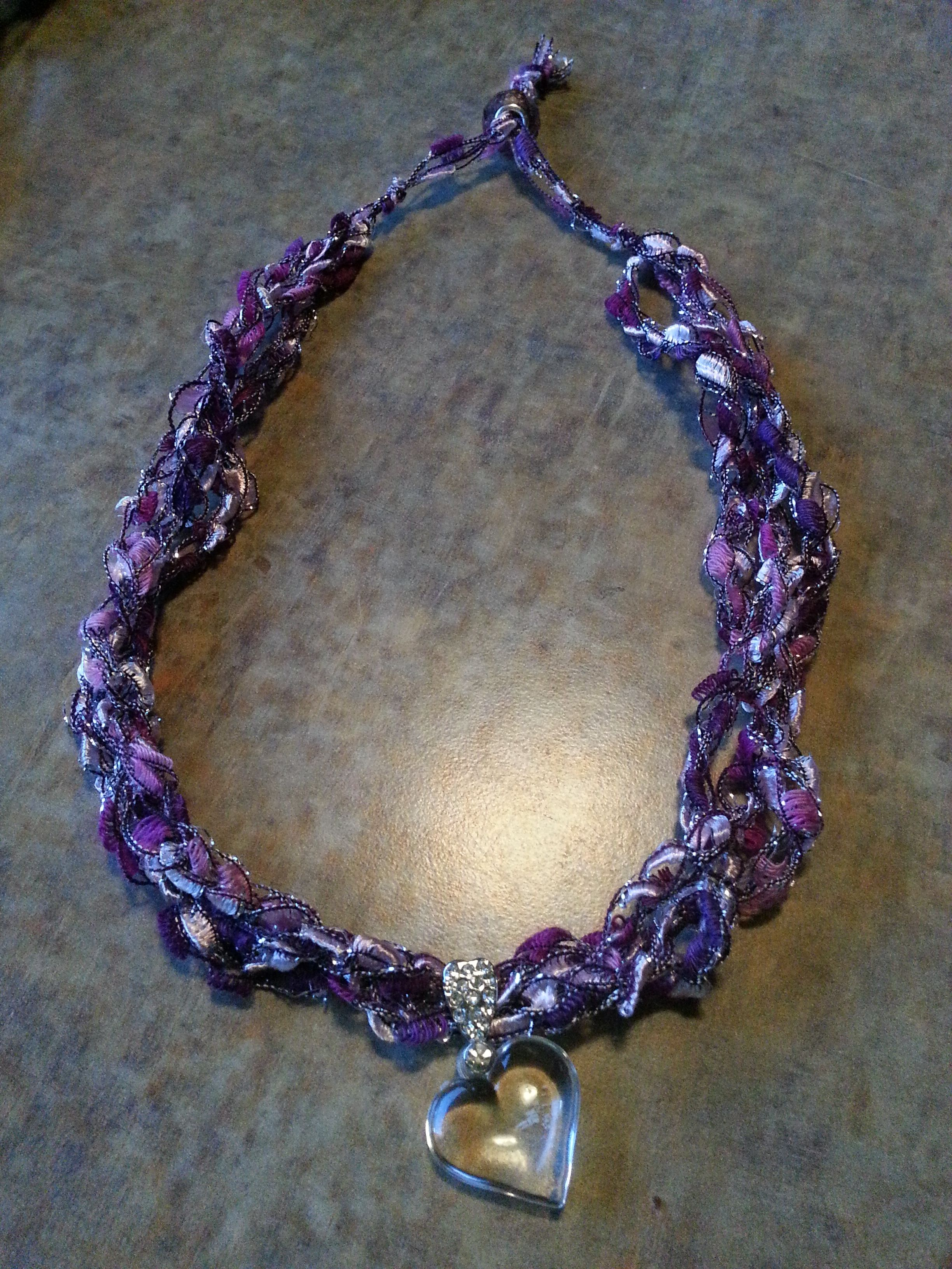 Crochet Ladder Yarn Necklace Yarn Necklace