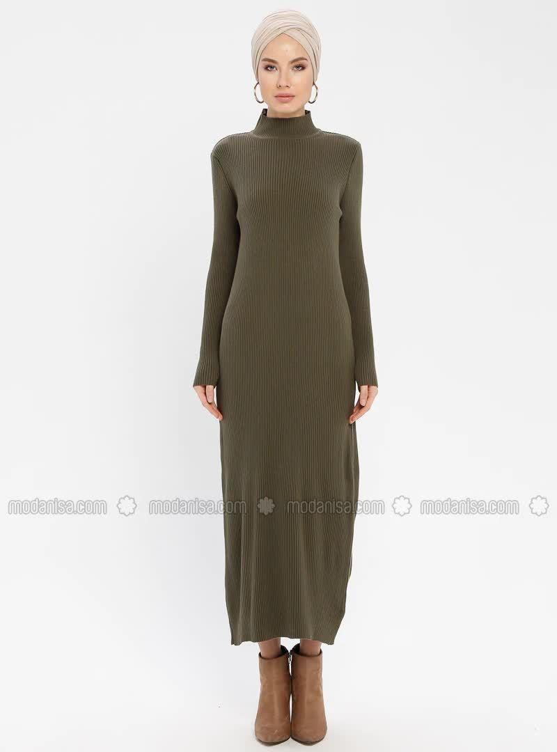 Bogazli Triko Elbise Haki 2020 Elbise Elbise Modelleri Triko