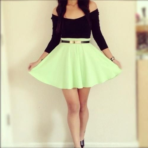 black strapless bow crop top with a mint green skater skirt tumblr ...