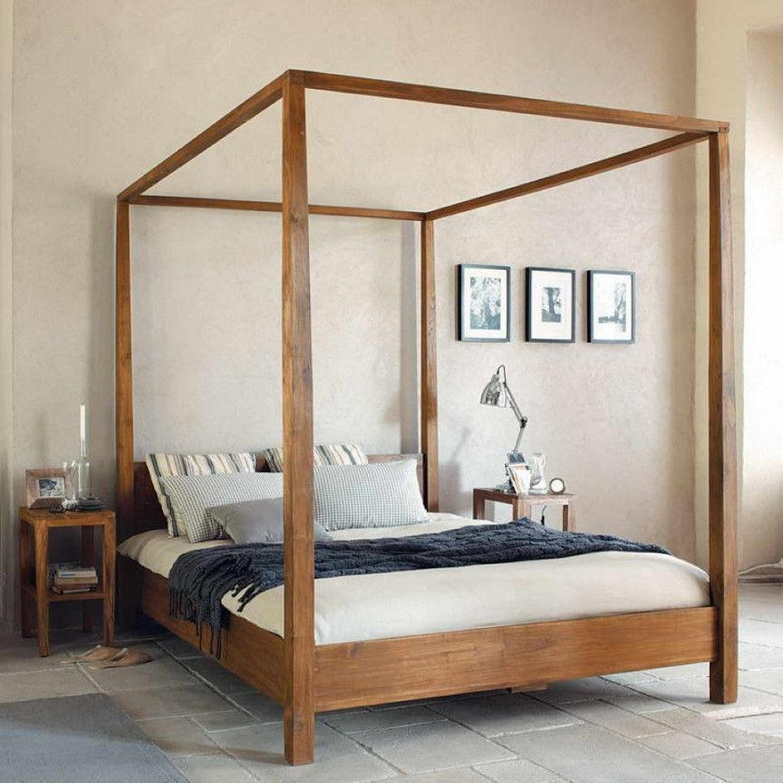 King Size Wooden Canopy Bed Frame Https Www Otoseriilan Com In 2020 Canopy Bed Frame Wooden Canopy Bed Modern Canopy Bed