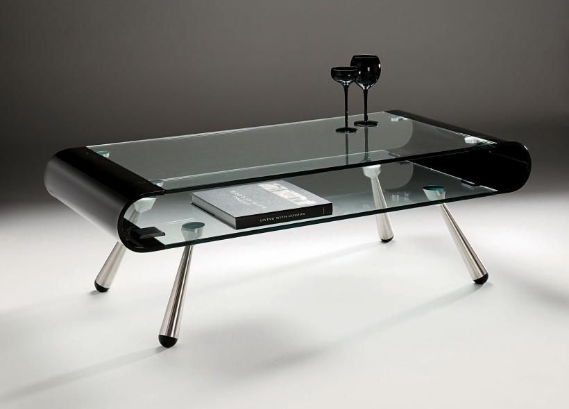 the black glass of modern coffee tables