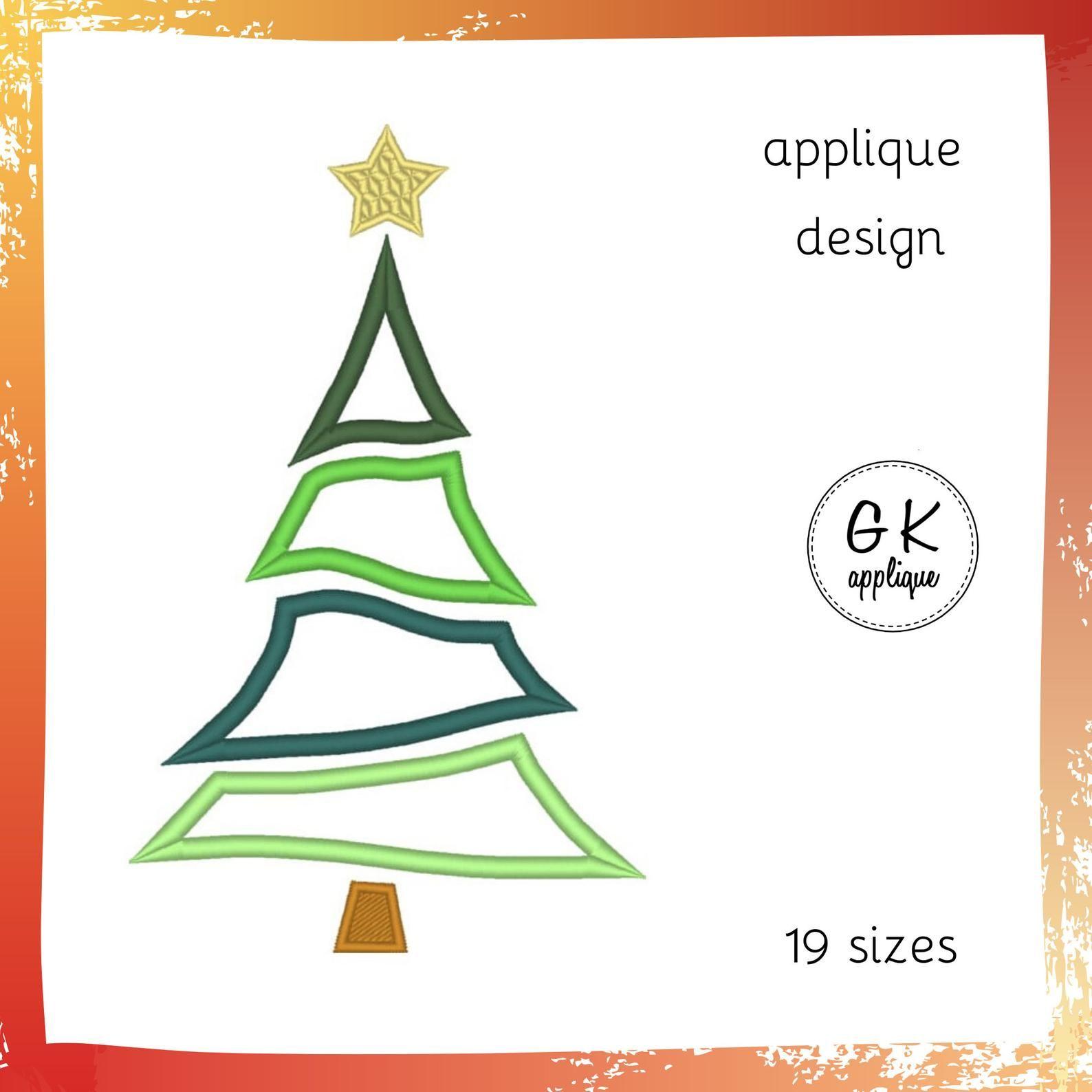 Christmas Tree Applique Design Machine Embroidery Design Etsy Machine Embroidery Designs Applique Designs Christmas Tree Embroidery Design