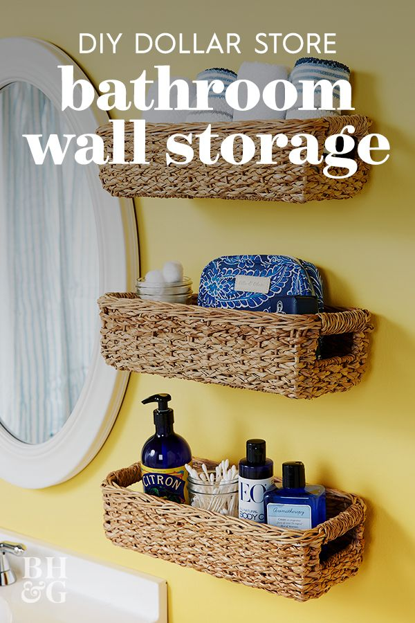 This dollar store hack is a smart way to boost storage in small bedrooms. Instead of using up floor space with a bulky nightstand, mount a simple wicker basket on a bedside wall for a makeshift shelf unit. #dollarstorehacks #diyhomedecor #dollarstoreideas #bhg