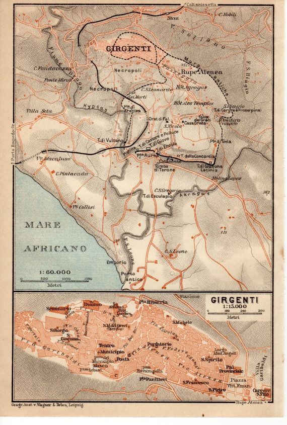 1911 Agrigento Sicily Antique Map Girgenti Ancient Greek Akragas