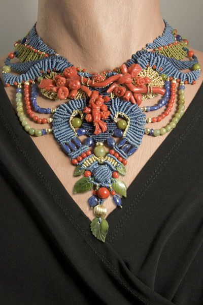 Necklace   Barbara Natoli Witt. Carved Italian coral centerpiece from Trapani - beads of coral, jade, blue sapphire, & 14k gold.