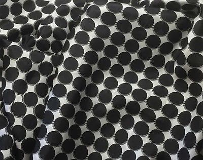 Black & White Polka Dots - 8mm Silk Habotai (1/3 Yard)