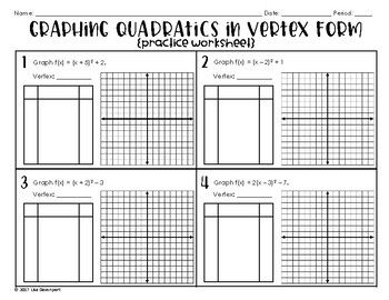 Graphing Quadratics In Vertex Form Practice Worksheet Graphing