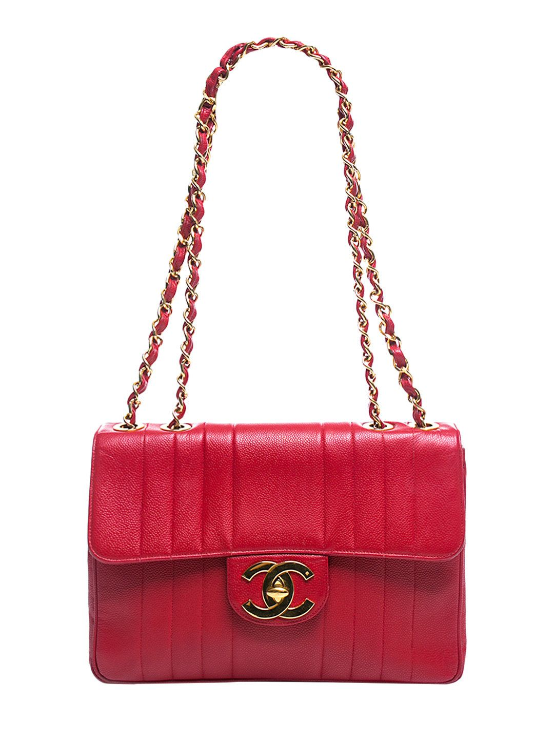 7964be73b48833 Red Caviar Vertical Jumbo Single Flap Bag by Chanel at Gilt | Chanel ...