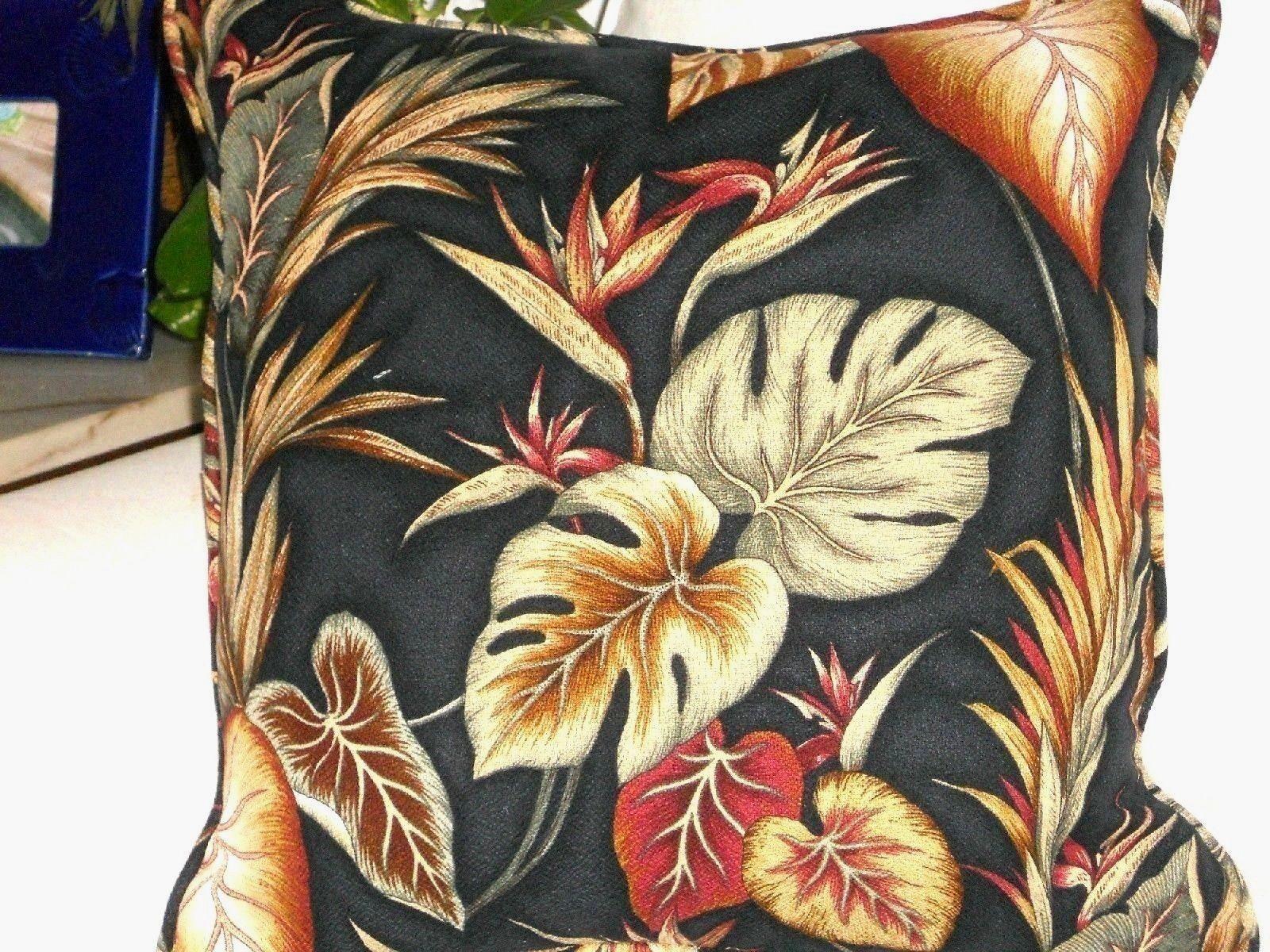 Tropical Hawaiian 100/% Cotton Barkcloth Fabric CORDED PILLOW ~Copa Cabana-Black~